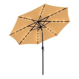 Outdoor 9 FT  Patio Umbrella Sun Shade Offset with Solar LED Light, Tilt and Crank