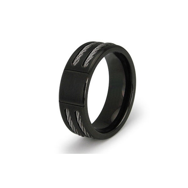 Black Stainless Steel Cable Inlay Ring