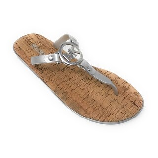 Michael Kors MK Charm Jelly Flip Flop Cork Bottom, Silver