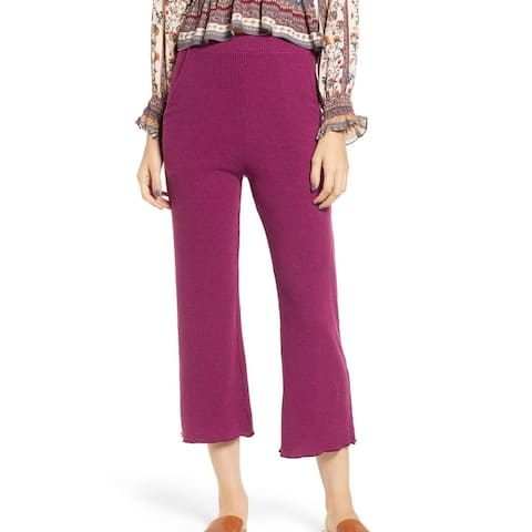 Angie Womens Pants Large High Rise Cropped Ribbed Stretch