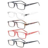 Eyekepper 5-Pack Quality Metal Spring Hinges Crystal Clear Vision Reading Glasses+1.0