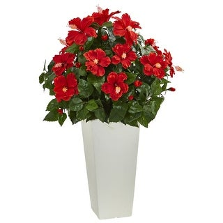 Nearly Natural Hibiscus Artificial Plant in White Tower Planter