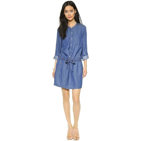 DONNA KARAN Womens Blue Cuffed Above The Knee Tunic Dress Size S