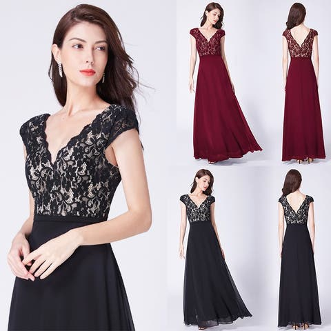 abe7234532f Ever-Pretty Women s Floral Lace Empire Waist V-Neck Long Formal Evening  Party Dresses