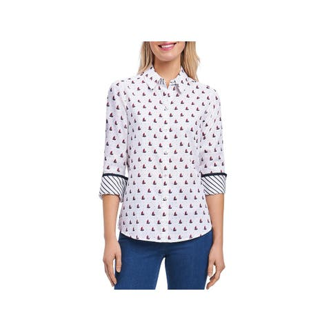 Foxcroft Womens Button-Down Top Wrinkle-Free Shaped