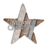 "Pack of 2 Brown Decorative Merry Christmas Stars Wall Decor 26"" - WHITE"