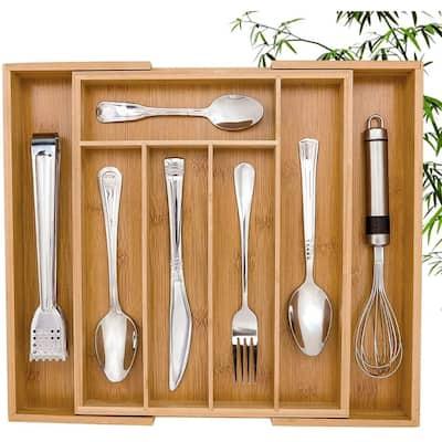 Bamboo Utensil Expandable Kitchen Drawer Organizer