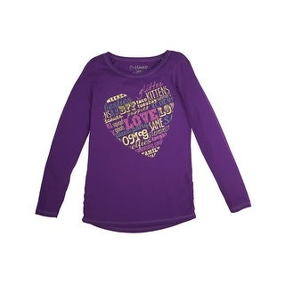 Girl's Good Stuff Shirred Sideseam LS Tee - Good Stuff/Grape Splash - Size - XS