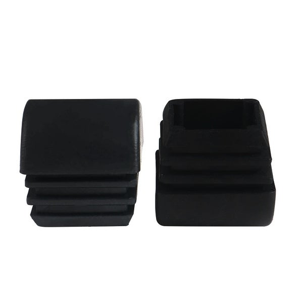 2pcs 25 x 25mm Plastic Domed Square Ribbed Tube Inserts End Cover Caps