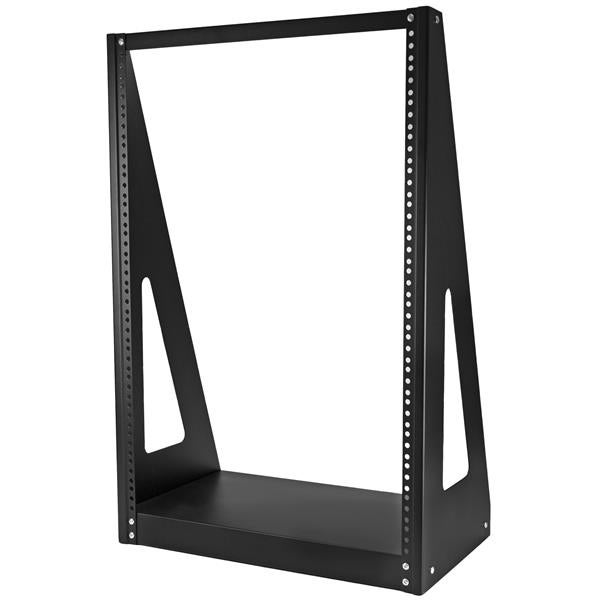 Startech 2Postrack16 16U Floor Desktop Heavy-Duty 2-Post Rack Frame, Black