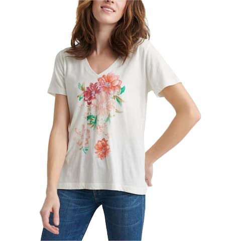 Lucky Brand Womens Bouquet Graphic T-Shirt, white, X-Small