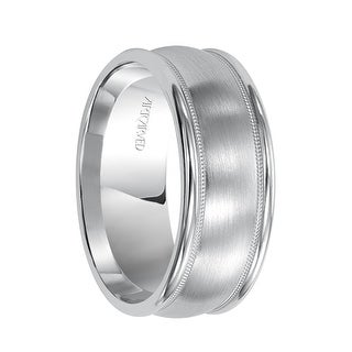 PENDLETON Palladium Ring with Domed Brushed Center Offset Milgrains and Raised Edges by Artcarved - 6.5 mm