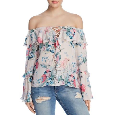 Parker Women's Blouse Pink Size XS Off-Shoulder Floral Print Silk