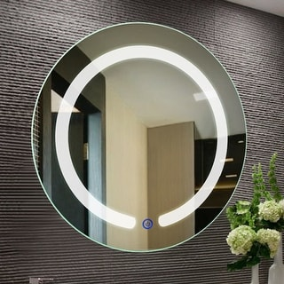 Costway 20'' LED Mirror Illuminated Light Wall Mount Bathroom Round Make Up Touch Button - as pic