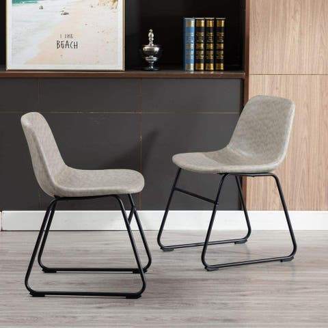 Home Beyond Set of 2 Pcs Synthetic Leather Upholstered Dining Chairs Armlesss with Metal Frame UC-13G