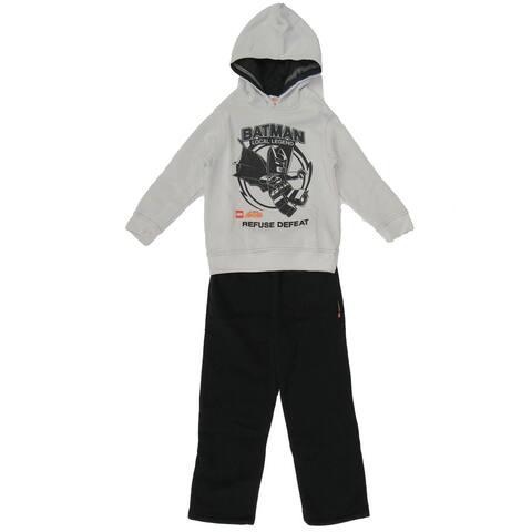 DC Comic Boys Lego Batman Gray Hooded Sweatshirt Black Pants Outfit