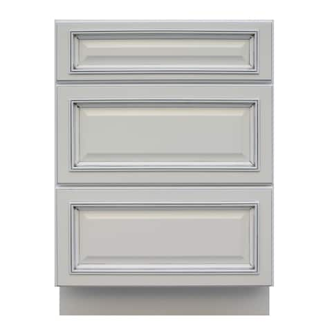 """Sunny Wood RLB24D-A Riley 24"""" Wide x 34-1/2"""" High Base Cabinet with 3 Drawers - White"""