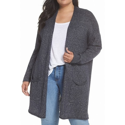Caslon Womens Plus Marled Open Front Cardigan Sweater