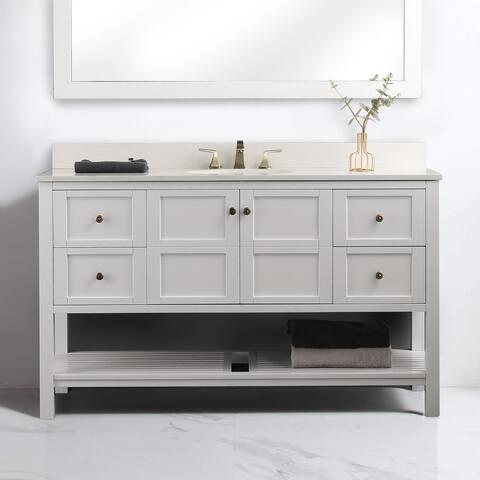 Proox 60 in. Bathroom Single Vanity Rectangle Sink Quartz Counter-Top w/ Backsplash