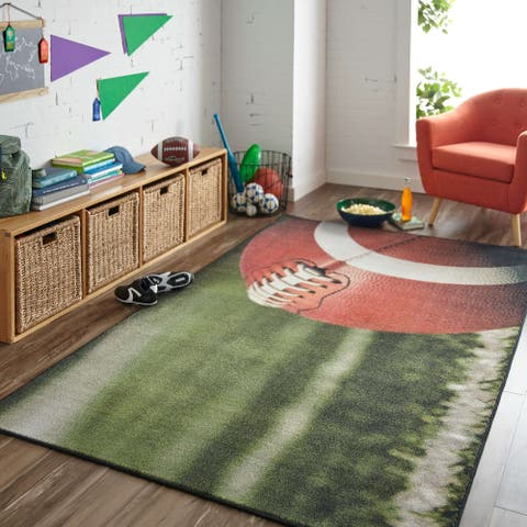 Mohawk Home Football Field Sports Area Rug