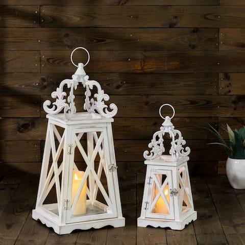 Glitzhome Set of 2 Wash White European Farmhouse Wooden & Metal Top Lantern