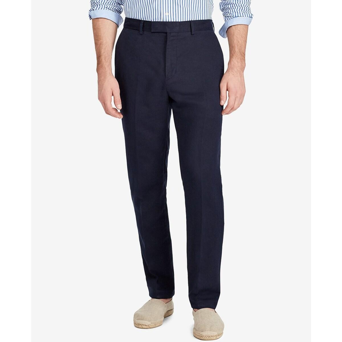 huge sale yet not vulgar complimentary shipping Polo Ralph Lauren Men's Classic-Fit Linen Pants Aviator Pants Navy Size 42