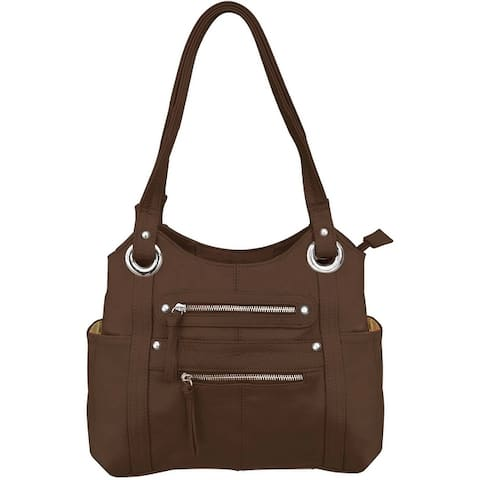 Womens Conceal Carry Gun Purse Genuine Leather Shoulder Bag Tote CCW Handbag - One Size