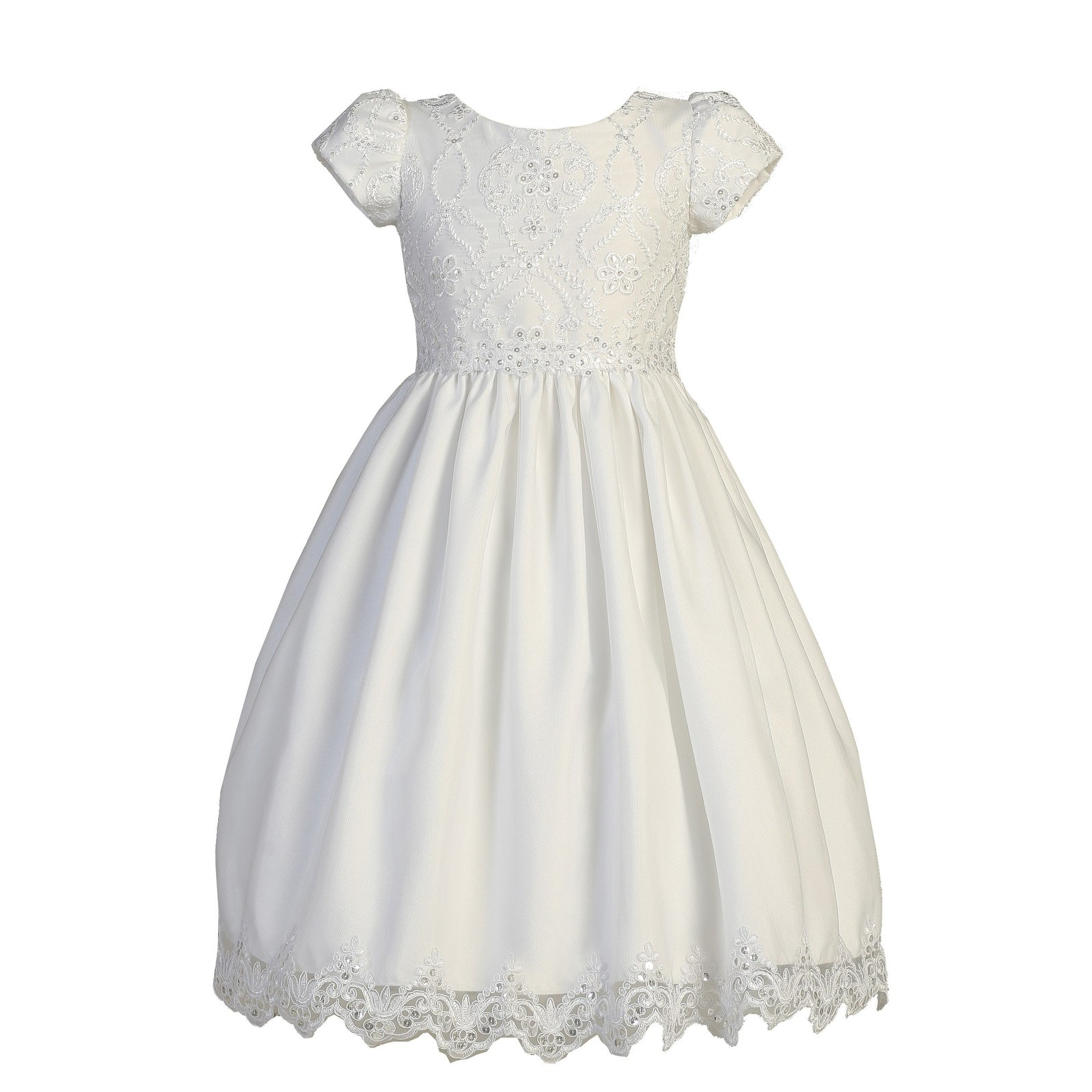 Girls White Short Sleeve Embroidered Lace Plus Size Communion Dress