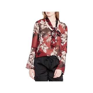 Rachel Rachel Roy Womens Blouse Floral Print Tie-Neck