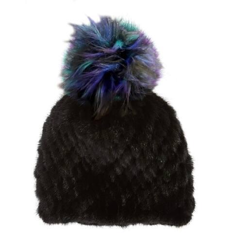 Jocelyn Womens Black Pom Pom Hat One Size