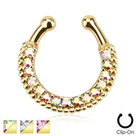 Single Line Paved Gem Gold IP Non-Piercing Septum Hanger (Sold Individually)