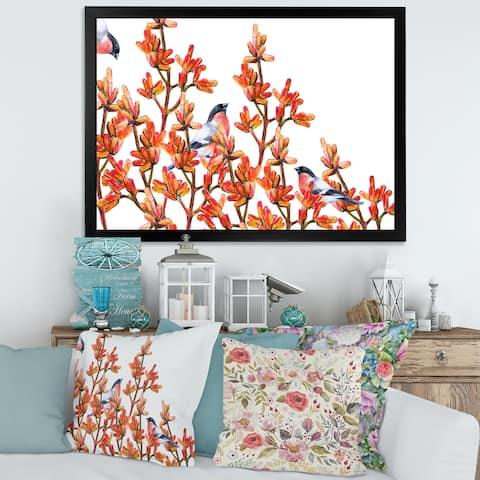 Designart 'Flock of Bullfinches Birds on Orange Branches' Traditional Framed Art Print