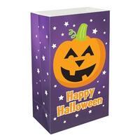 "Pack of 12 Traditional Weather Resistant Happy Halloween Pumpkin Luminaria Bags 10"" - Purple"