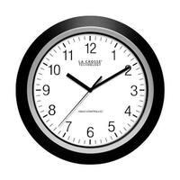 La Crosse 404-1236 Analog Atomic Black Frame Wall Clock  13.5 in.