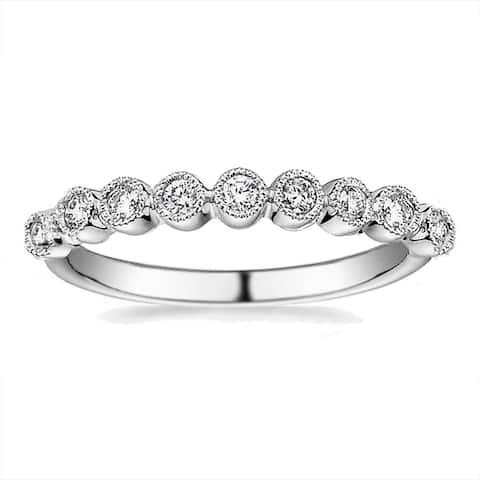 Modern Vintage Round Milgrain CZ Eternity Stacking Wedding Band Ring