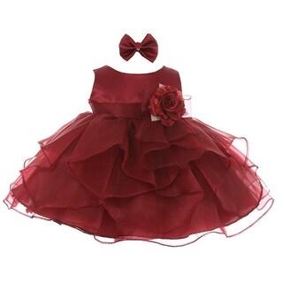 Good Girl Baby Girls Burgundy Satin Organza Short Sleeve Flower Girl Dress