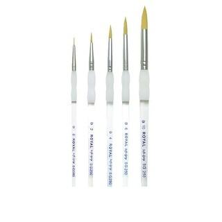 Royal Brush Soft Grip Round Golden Taklon Fiber Paint Brush Set, Assorted Size, Set of 5