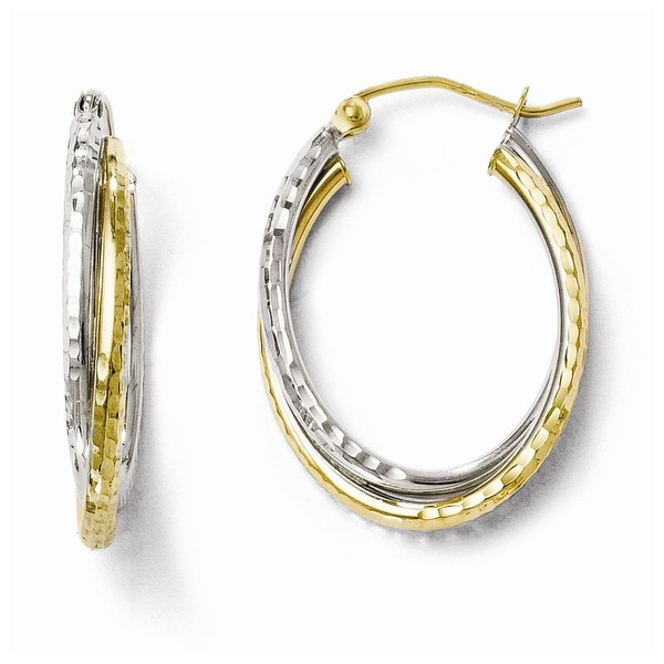 10k Two-Tone Gold Textured Hinged Hoop Earrings