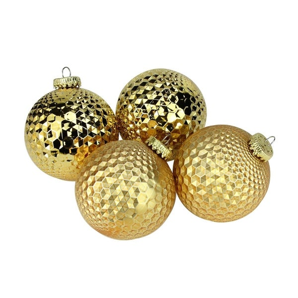 "4ct Gold Prism Textured Shatterproof Christmas Ball Ornaments 2.75"" (70mm)"