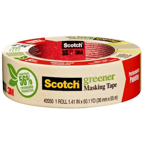 "Scotch 2050-36A Painters Masking Tape for General Painting, 1.41"" x 60 Yd, Beige"