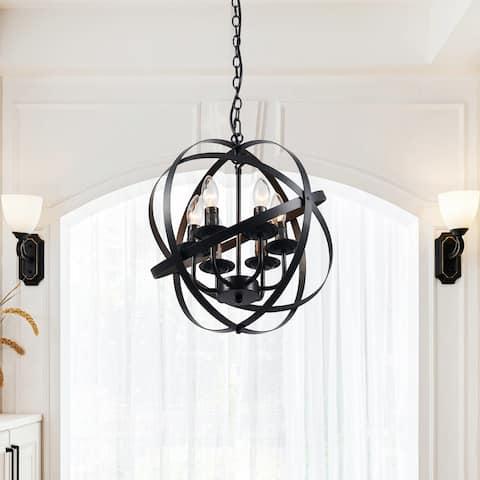 CO-Z Industrial 6 Light Globe Pendant Chandelier - Black