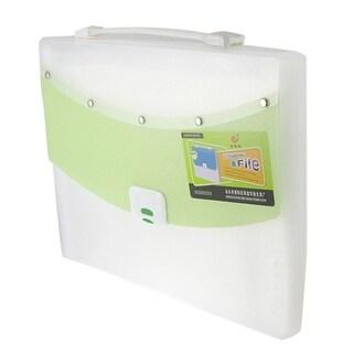 Unique Bargains Hand Carry 13 Compartment White Green Plastic File Document Bag