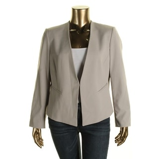 Tahari ASL Womens Larry Woven Fitted Collarless Blazer