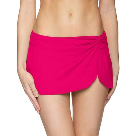 Anne Cole Women's Sarong Skirt with Built in Swim Bottom,, Berry, Size Large