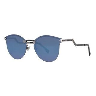 Fendi FF 0040/S LQJ XT Rimless Black Blue Mirror Cat Eye Women's Sunglasses - dark ruthenium / black - 60mm-17mm-135mm