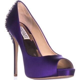 Badgley Mischka Kiara Jeweled Heel Platform Peep Toe Pumps, Purple Satin