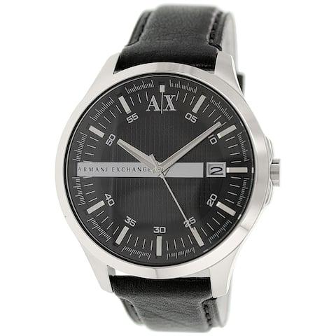 Armani Exchange Men's Black Leather Quartz Dress Watch