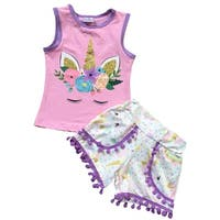Unicorn Print Tank Top Cami Shorts Set for Little Girl Pink 201398