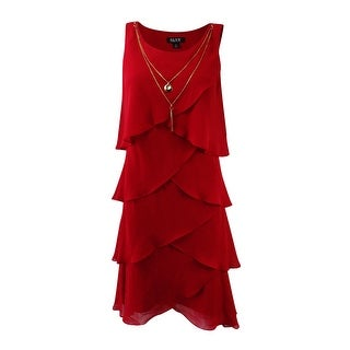 SL Fashions Women's Tiered Necklace Dress