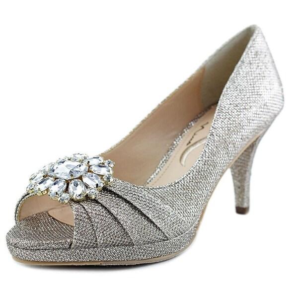 Nina Cleonia Women Peep-Toe Canvas Gold Heels